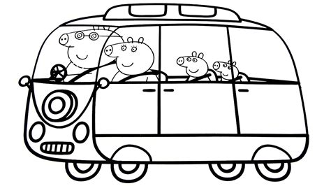 peppa pig family   car coloring book coloring pages