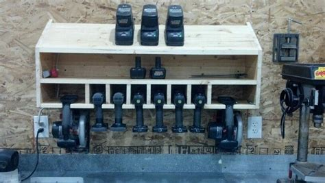 cordless drill storage  charging station woodworking