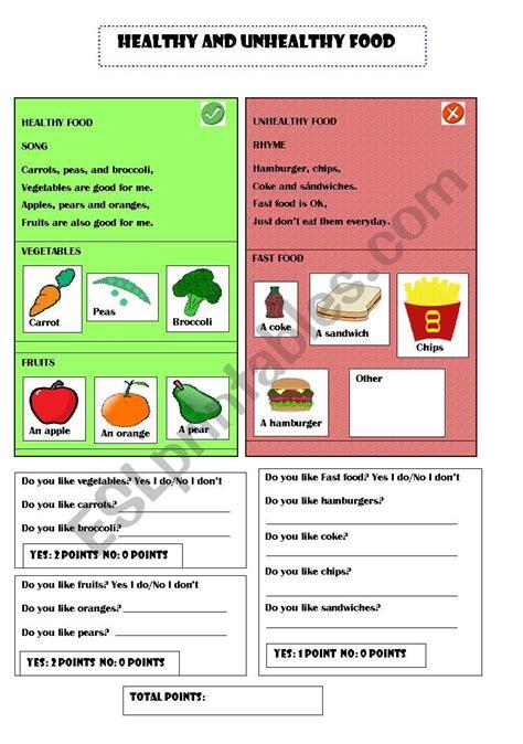 healthy  unhealthy food esl worksheet  ciberdacoba