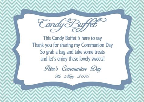 candy buffet table sign boy communion design