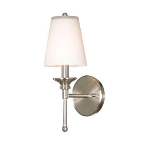 Home Depot Bathroom Sconces by Hton Bay 1 Light Satin Nickel Wall Sconce 19574