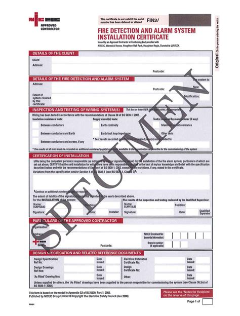 Alarm System Certification Forms