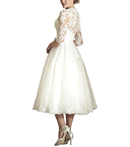Abaowedding Womens V Neck Long Sleeves Tea Length Short