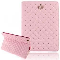 iPad Mini Cases for Teen Girls, Umiko(TM) iPad Mini Cute Crown Bling Luxury Flip PU Leather Rhombus Quilted Smart Case for iPad Mini -Pink