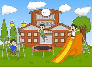 Children Playing At The School Cartoon Stock Vector ...