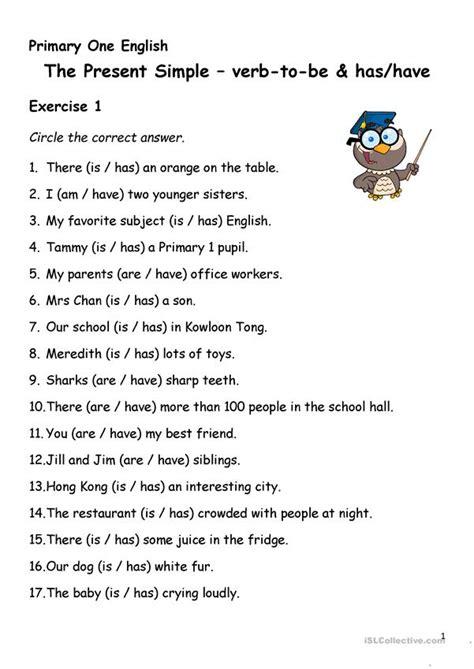 simple present tense verb   hashave worksheet