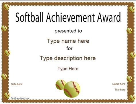 Sports Certificate Templates Free Printable by Sports Certificate Softball Certificate
