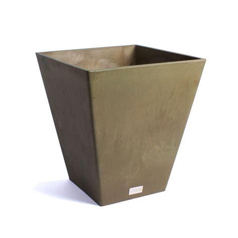 home depot plastic planters veradek nobleton 16 in square bronze plastic planter
