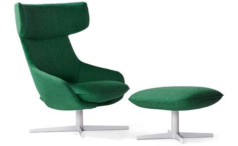 kalm swivel metal base lounge chair ottoman hivemodern