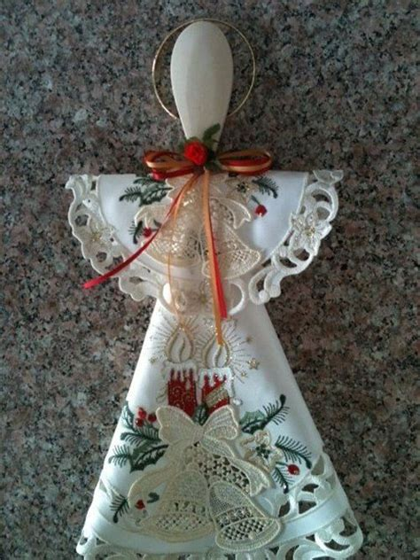 beautiful croched cream bell  red candle doily
