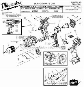 Milwaukee 2604-20 Parts List And Diagram