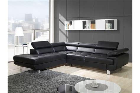 but canaper canapé design d 39 angle studio cuir pu noir canapés d