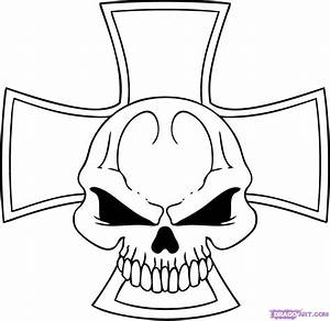 How to Draw an Iron Skull Cross, Step by Step, Skulls, Pop ...