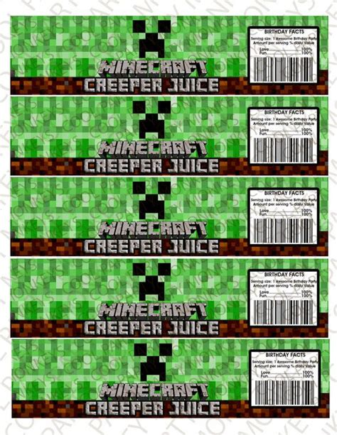 minecraft creeper juice water bottle labels