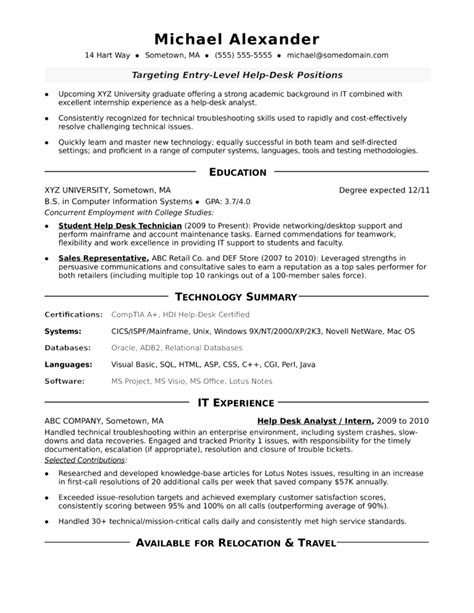Technical Help Desk Analyst Resume by One Page Help Desk Analyst Resume Template