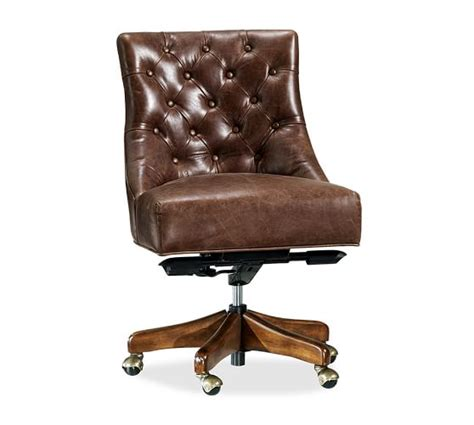 Hayes Tufted Leather Swivel Desk Chair Pottery Barn
