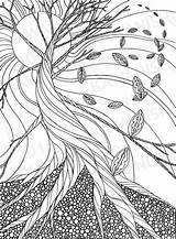 Coloring Pages Autumn Drawing Tree Adult Line Fall Zentangle Printable Dead Adults Wall Trees Grown Ups Leaves Colouring Etsy Drawings sketch template