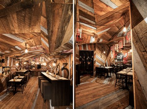 jean de lessard fits japanese restaurant  recycled timber