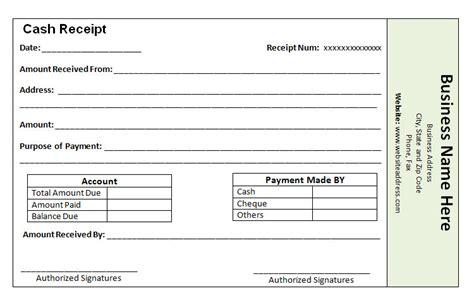 receipt  payment template word printable receipt template