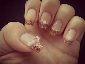 Gold Glitter French Tipped Nails | Meebsie's World
