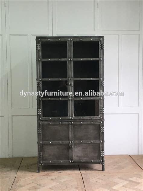 decorative industrial vintage style metal display cabinet