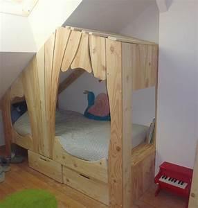 Lit Pour Garcon : lit cabane bois massif enfant sequoia abra ma cabane ~ Teatrodelosmanantiales.com Idées de Décoration