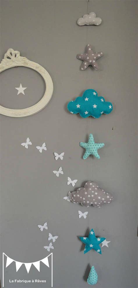 guirlande fanion chambre bebe guirlande suspension étoiles nuage goutte turquoise lagon