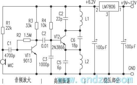 Wireless Microphone Circuit With Voltage Regulator
