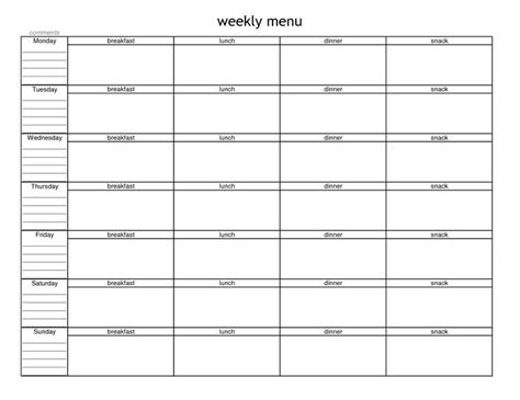 Menu Planning Template Best 25 Weekly Menu Template Ideas On Menu