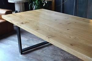 Table Bois Massif Brut : table acier brut bois ch ne massif sur mesure micheli design ~ Teatrodelosmanantiales.com Idées de Décoration