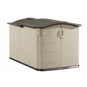 shop rubbermaid 60 in x 79 in x 54 in olive resin outdoor storage shed at lowes