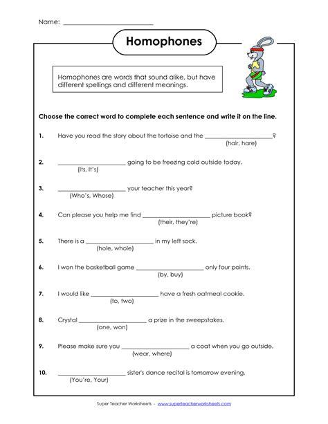 homophones worksheets  grade