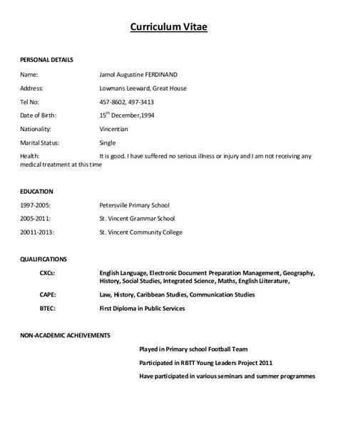 Simple Cv Format For by Simple Curriculum Vitae Format Simple Curriculum Vitae