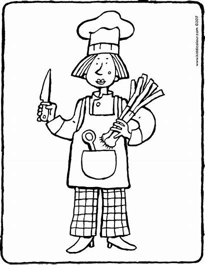 Cook Colouring Pages Job Coloring Kiddicolour Drawing