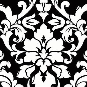 Damask Wallpaper, Black and White