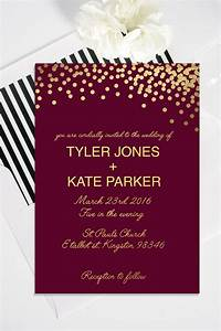 gold polka dot wedding invitation with rsvp card modern With wedding invitation sample maroon