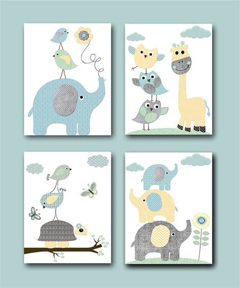 poster chambre bebe gray blue yellow mint baby boy nursery prints for