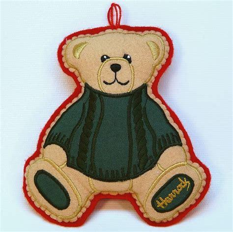 harrods christmas ornament bear felt england