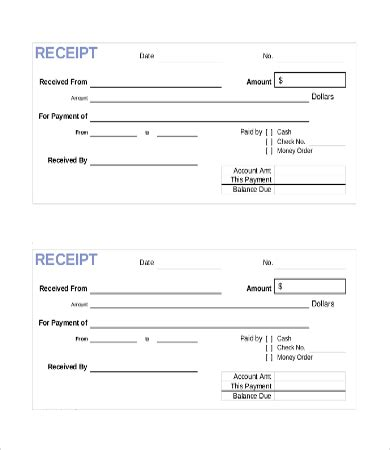 Payment Receipt Template Free
