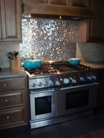 Backsplash Picture Ideas: Stainless Steel Mixed up Mosaic