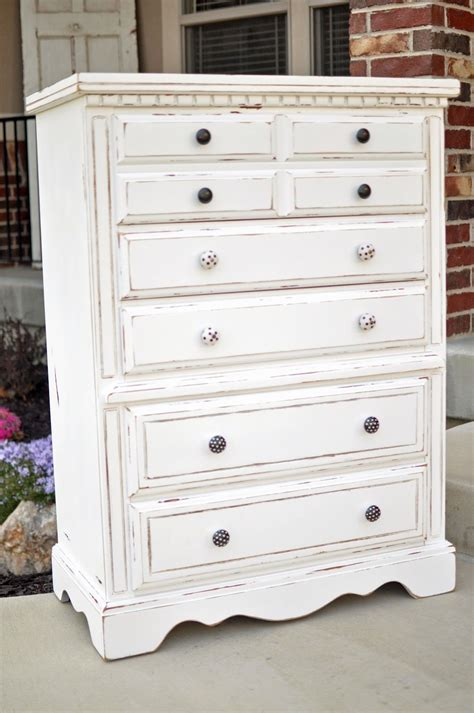 White Refinished Distressed Dresser Cleverlycrafty