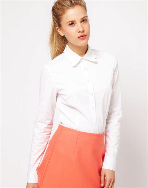 collar blouse asos scallop collar white shirt in white lyst