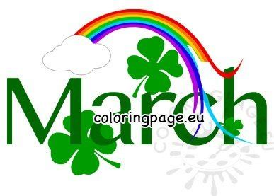 month march  shamrocks clipart coloring page