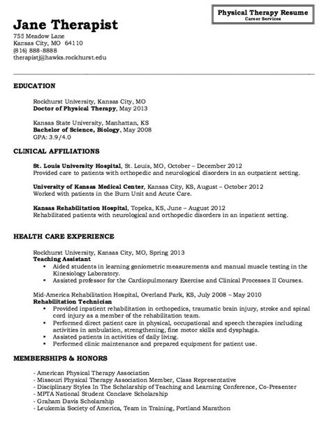 18450 physical therapist resume physical therapy resume sle http resumesdesign