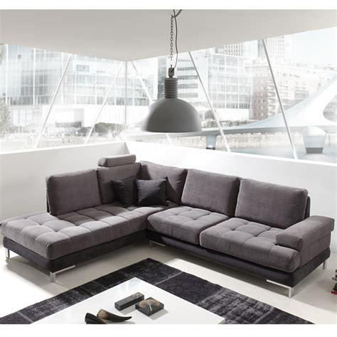 Canap Angle Gris Et Noir En Tissu Sofamobili