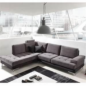 canap angle gris et noir en tissu sofamobili With tapis shaggy avec canapé d angle assise bultex