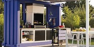 les plus beaux modeles de cuisine exterieure marie claire With leroy merlin cuisine exterieure