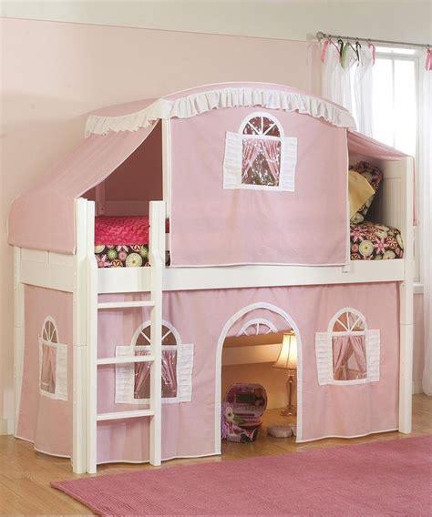 cottage loft bed pink white cottage low loft tent bed