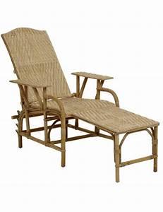 Chaise En Rotin : chaise longue en rotin naturel inclinable ~ Preciouscoupons.com Idées de Décoration