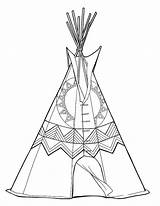 Teepee Colouring Printable Coloring sketch template